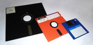 "Floppy disk evolution (8"" to 5 1/4"" to 3 1/2""). (Attribution: WIkimedia commons. http://commons.wikimedia.org/wiki/File:Floppy_disk_2009_G1.jpg)"