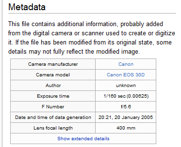 Metadata about a camera image.